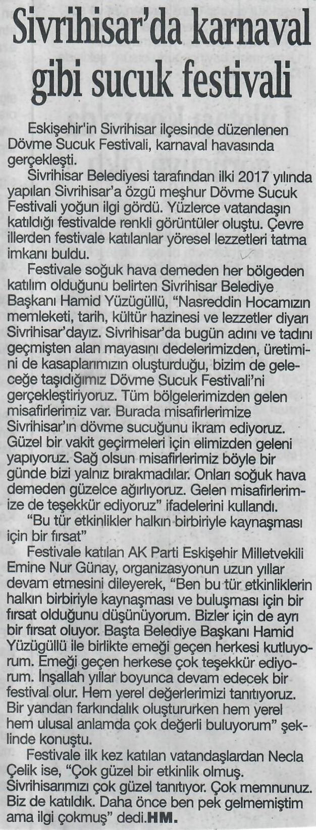 KARNAVAL TADINDA SUCUK FESTİVALİ