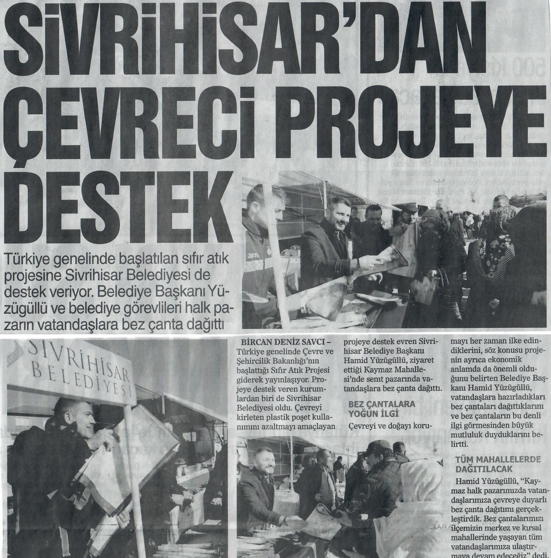 SİVRİHİSAR'DAN ÇEVRECİ PROJEYE DESTEK