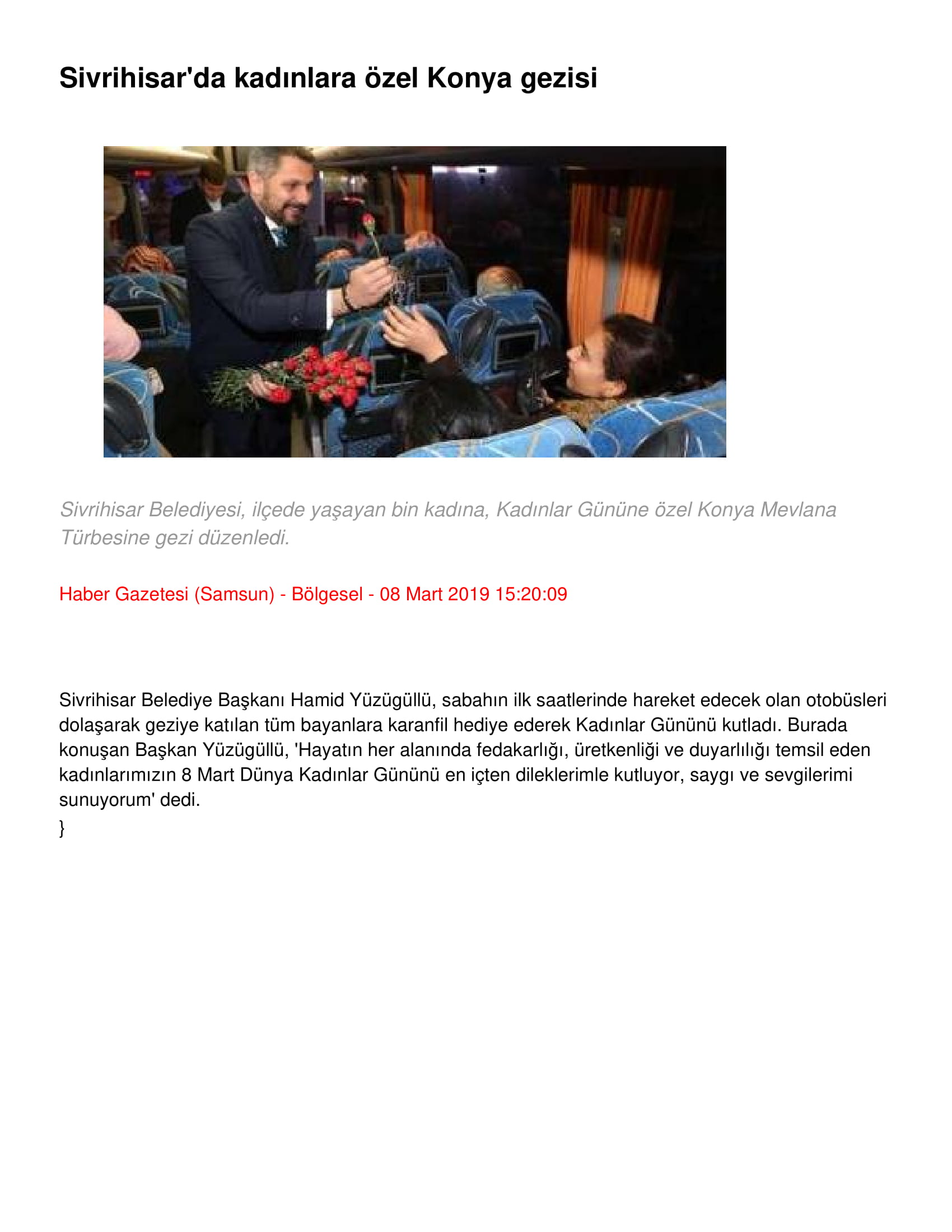 SİVRİHİSAR'DA KADINLARA ÖZEL KONYA GEZİSİ